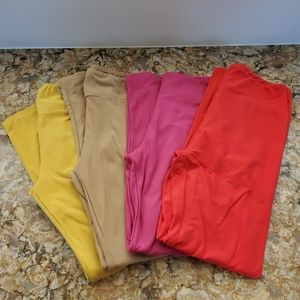 LuLaRoe One Size Leggings, Lot of 4, solid colors